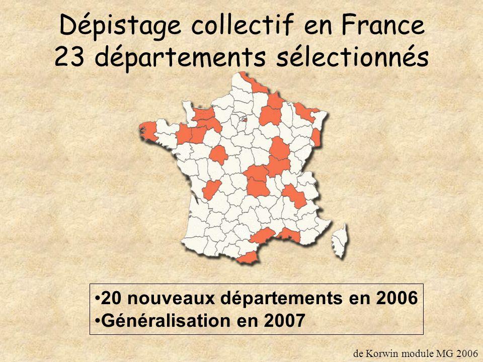 Dépistage collectif en France 23 départements sélectionnés