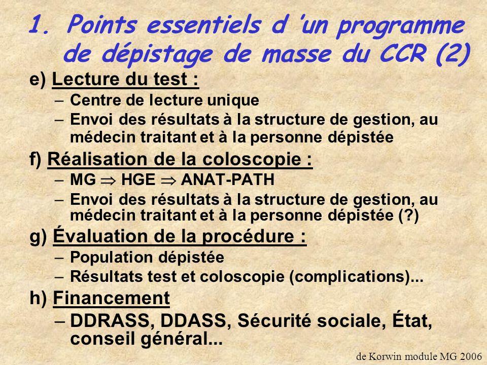 Points essentiels d 'un programme de dépistage de masse du CCR (2)