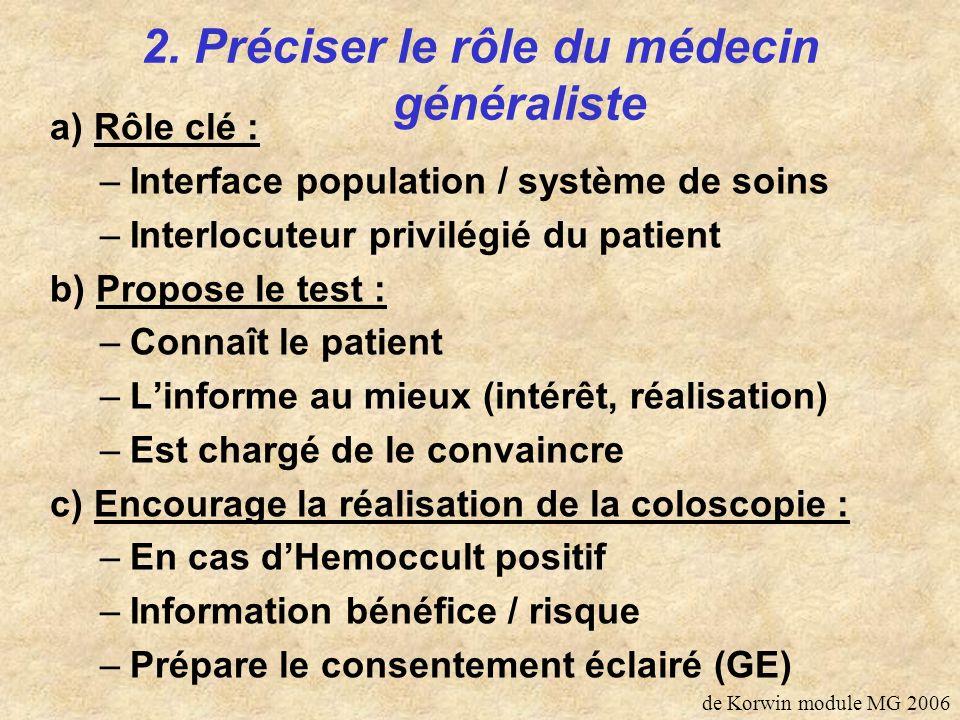 2. Préciser le rôle du médecin généraliste