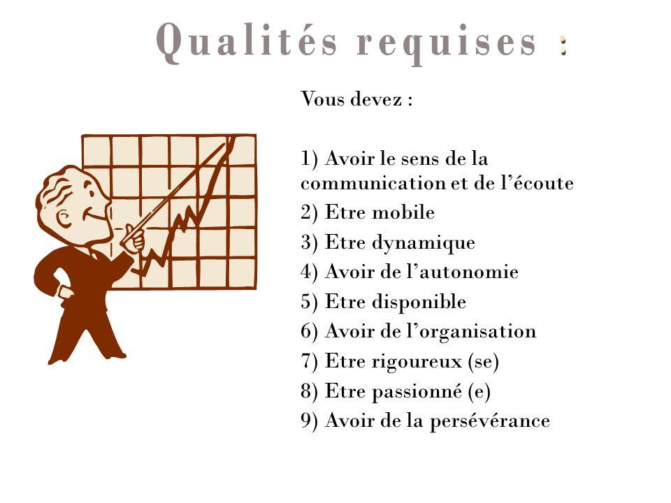 Qualités requises : Vous devez :