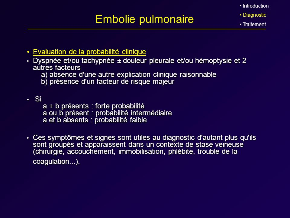 Embolie pulmonaire Evaluation de la probabilité clinique