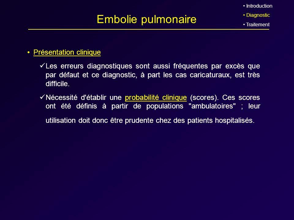 Embolie pulmonaire Présentation clinique