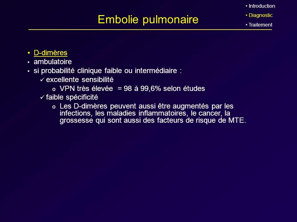 Embolie pulmonaire D-dimères ambulatoire