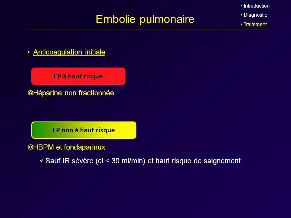 Embolie pulmonaire Anticoagulation initiale ➥ Héparine non fractionnée