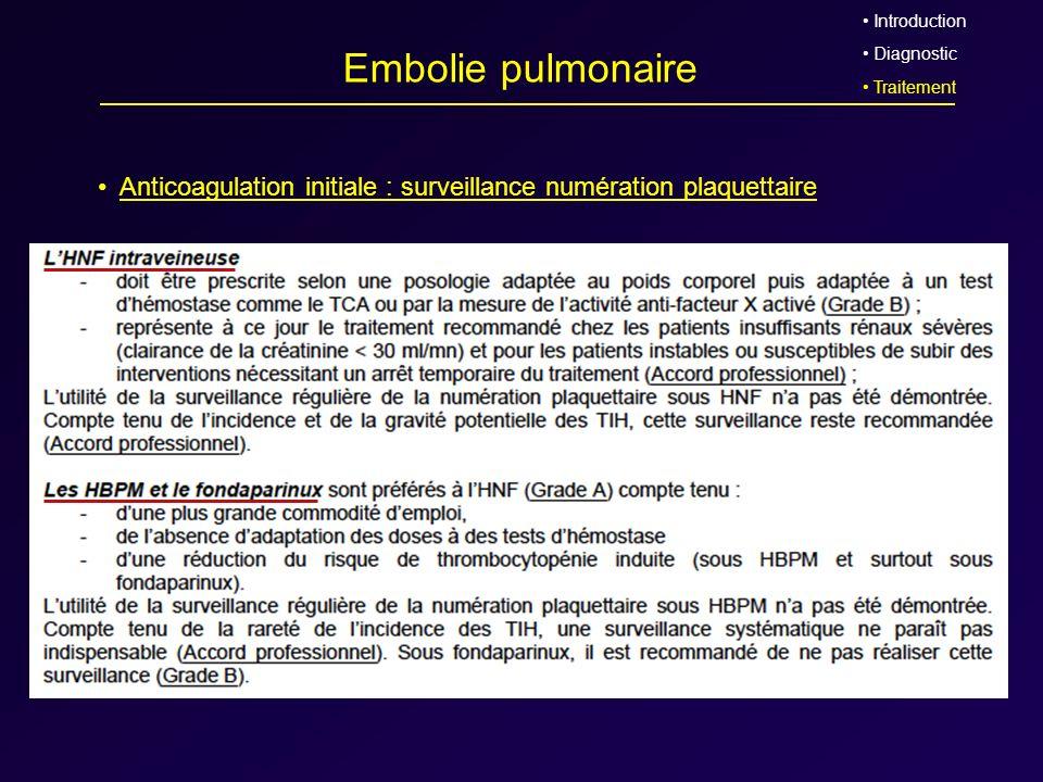 Introduction Diagnostic. Traitement. Embolie pulmonaire. Anticoagulation initiale : surveillance numération plaquettaire.