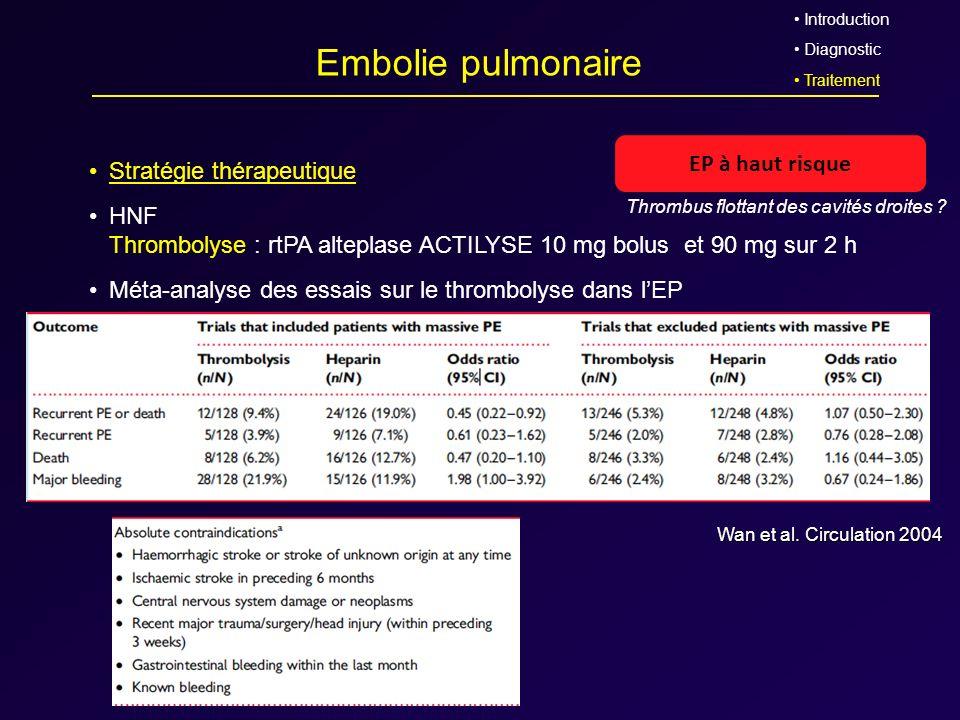 Embolie pulmonaire EP à haut risque Stratégie thérapeutique