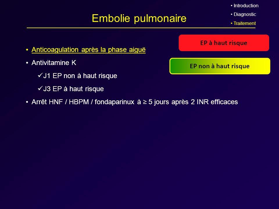 Embolie pulmonaire EP à haut risque