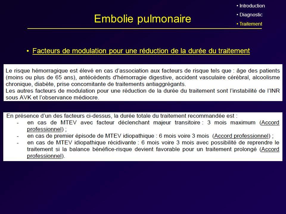 Introduction Diagnostic. Traitement. Embolie pulmonaire. Facteurs de modulation pour une réduction de la durée du traitement.