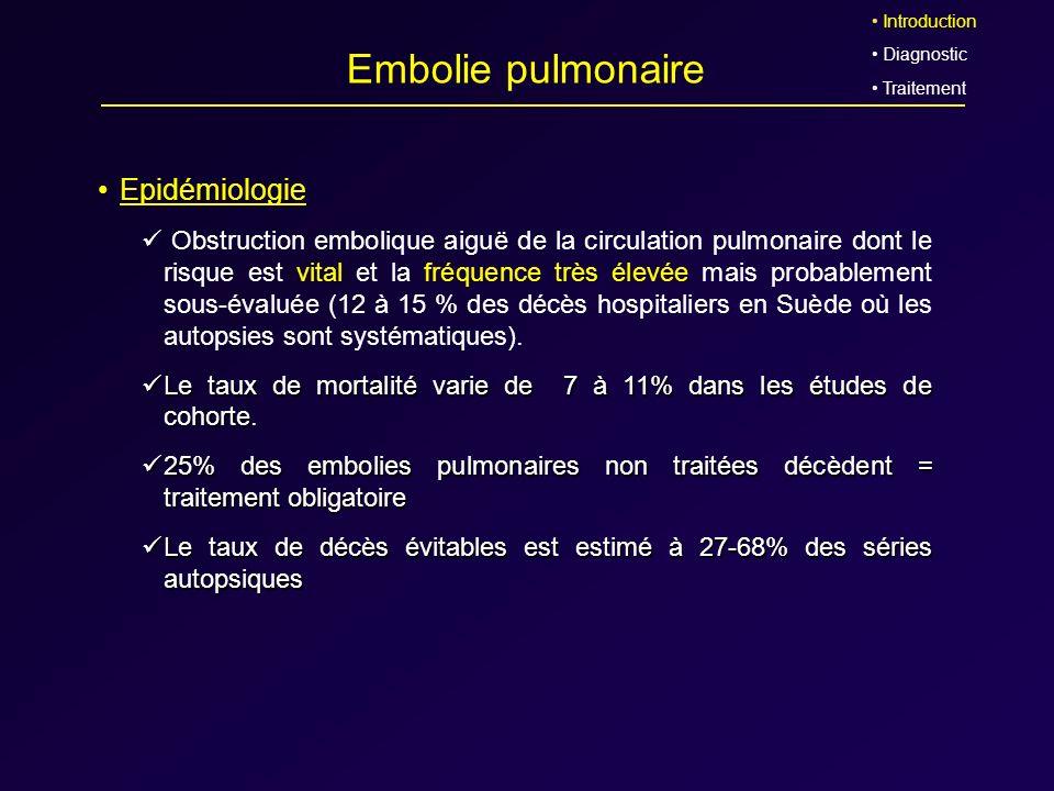 Embolie pulmonaire Epidémiologie