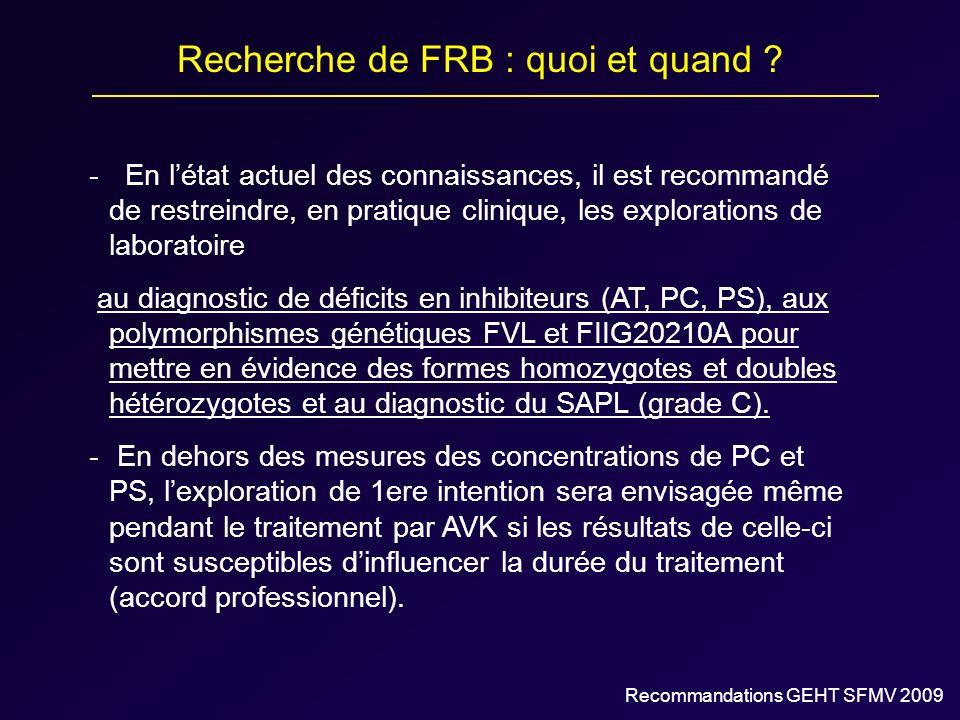Recherche de FRB : quoi et quand