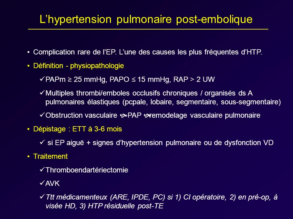 L'hypertension pulmonaire post-embolique