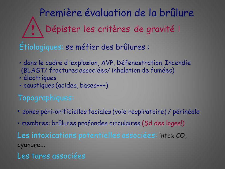 ! Première évaluation de la brûlure Dépister les critères de gravité !
