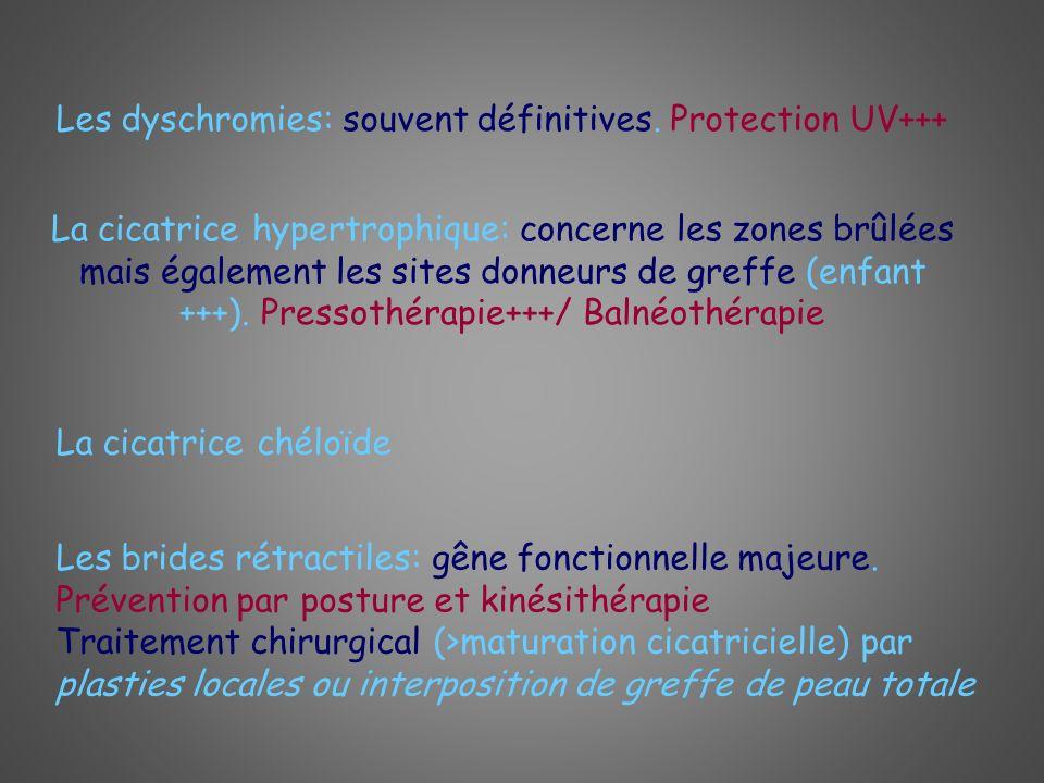 Les dyschromies: souvent définitives. Protection UV+++