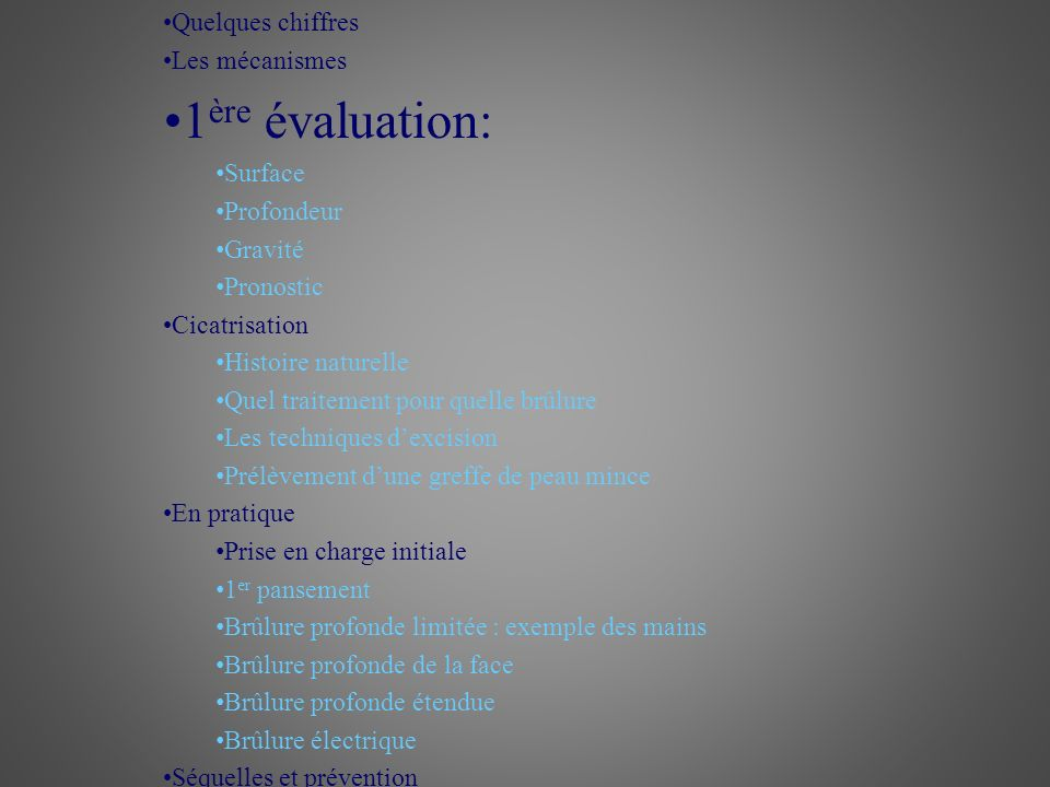 1ère évaluation: Quelques chiffres Les mécanismes Surface Profondeur