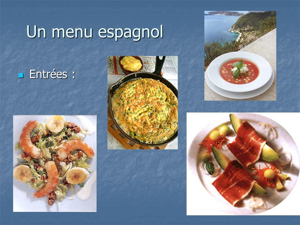 Un menu espagnol Entrées :