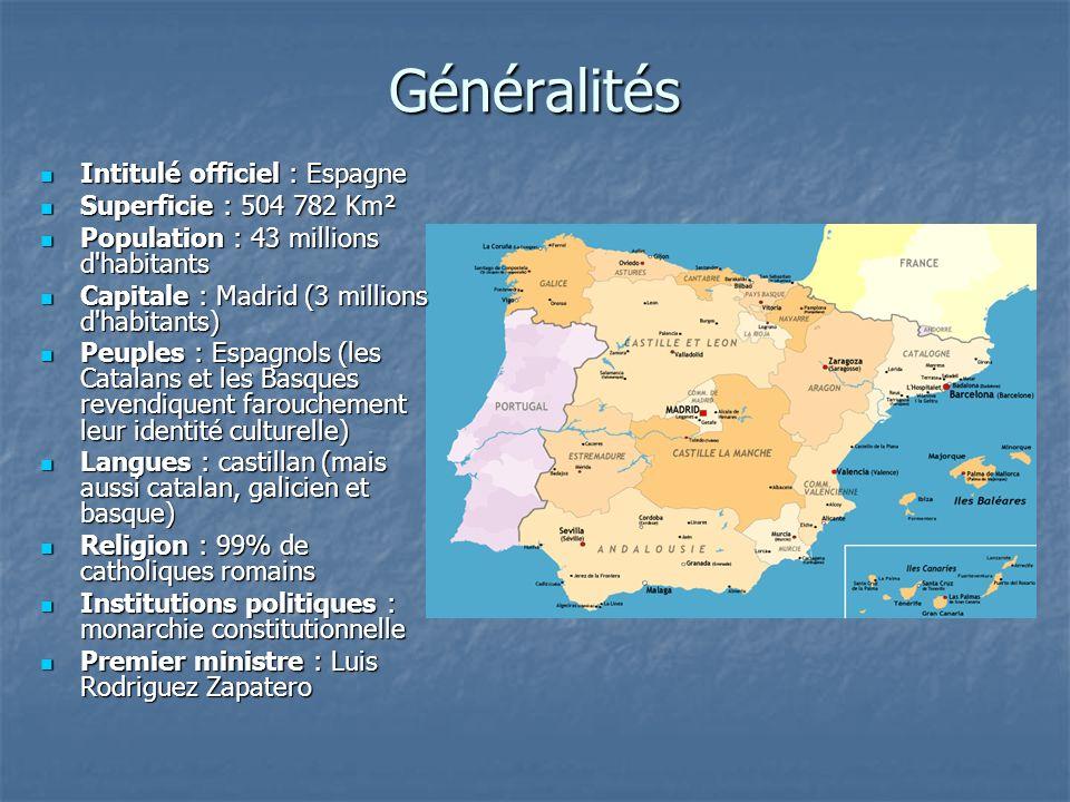 Généralités Intitulé officiel : Espagne Superficie : 504 782 Km²