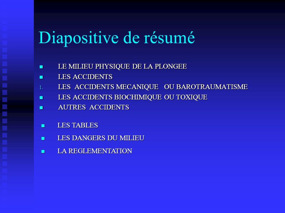 Diapositive de résumé LE MILIEU PHYSIQUE DE LA PLONGEE LES ACCIDENTS