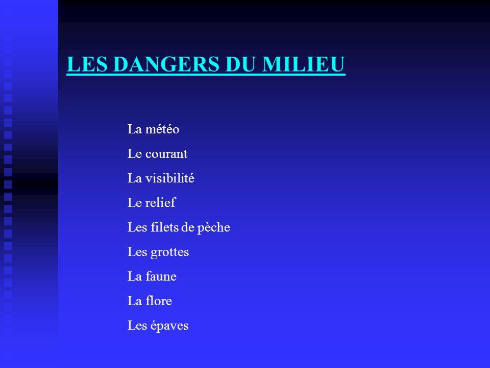 LES DANGERS DU MILIEU La météo Le courant La visibilité Le relief