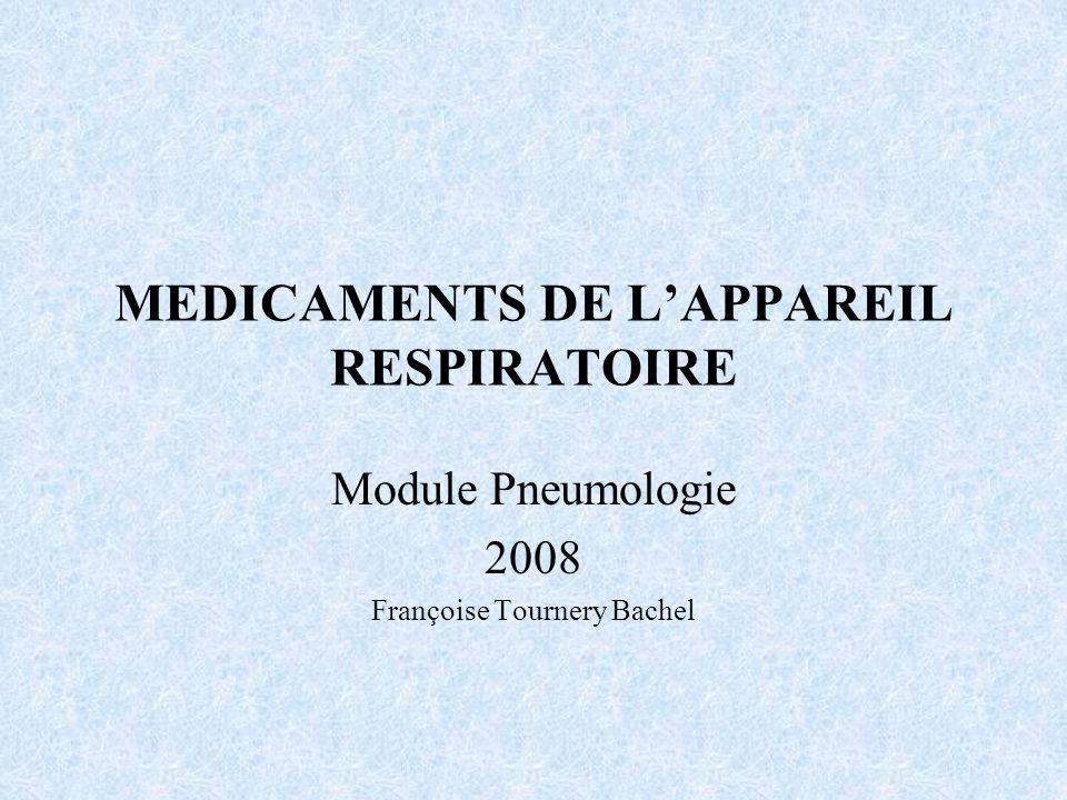 MEDICAMENTS DE L'APPAREIL RESPIRATOIRE