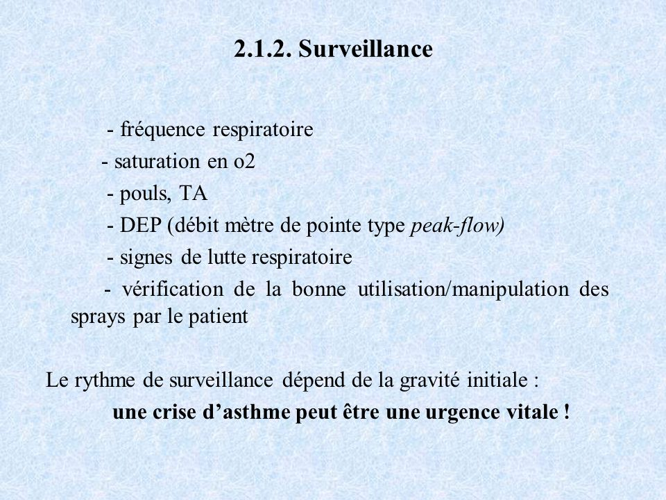 2.1.2. Surveillance - fréquence respiratoire - saturation en o2