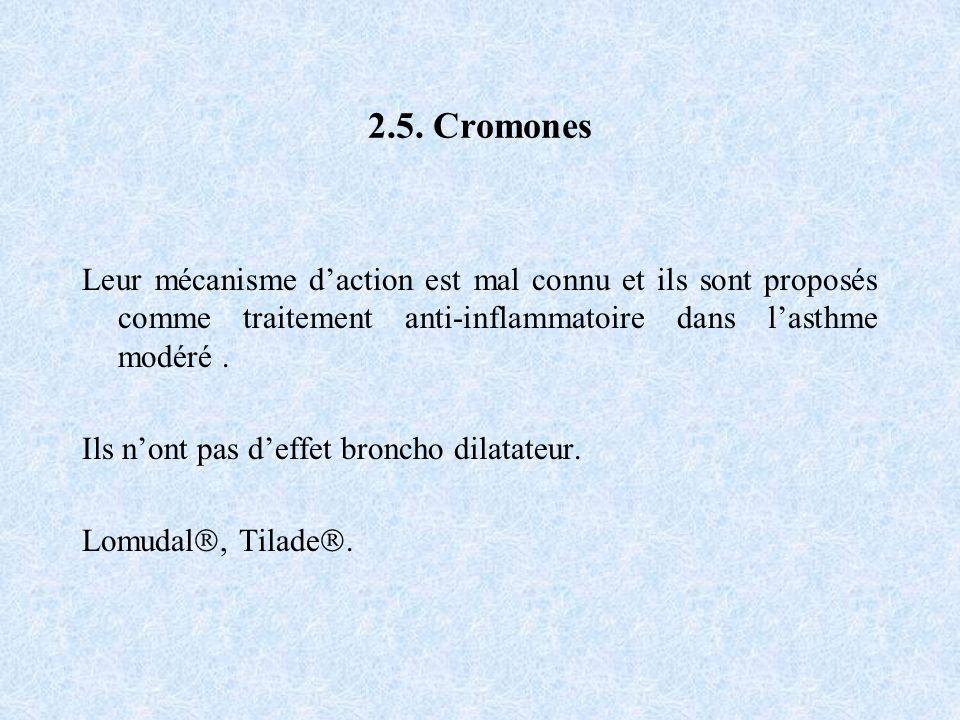 2.5. Cromones Leur mécanisme d'action est mal connu et ils sont proposés comme traitement anti-inflammatoire dans l'asthme modéré .