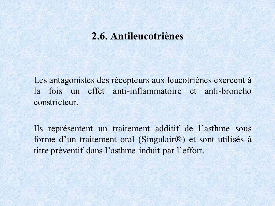 2.6. Antileucotriènes Les antagonistes des récepteurs aux leucotriènes exercent à la fois un effet anti-inflammatoire et anti-broncho constricteur.