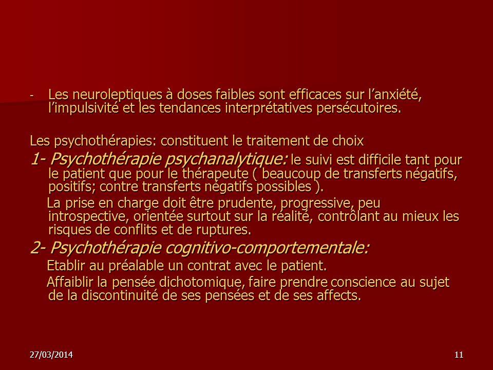 2- Psychothérapie cognitivo-comportementale: