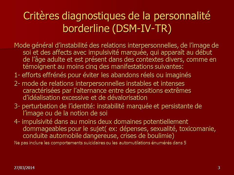 Critères diagnostiques de la personnalité borderline (DSM-IV-TR)