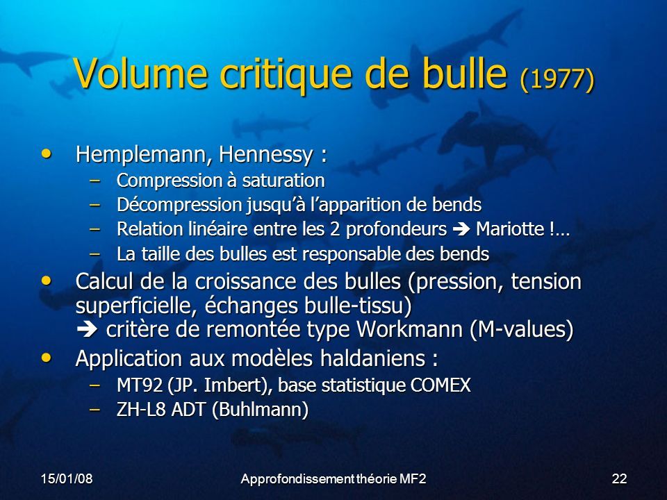 Volume critique de bulle (1977)