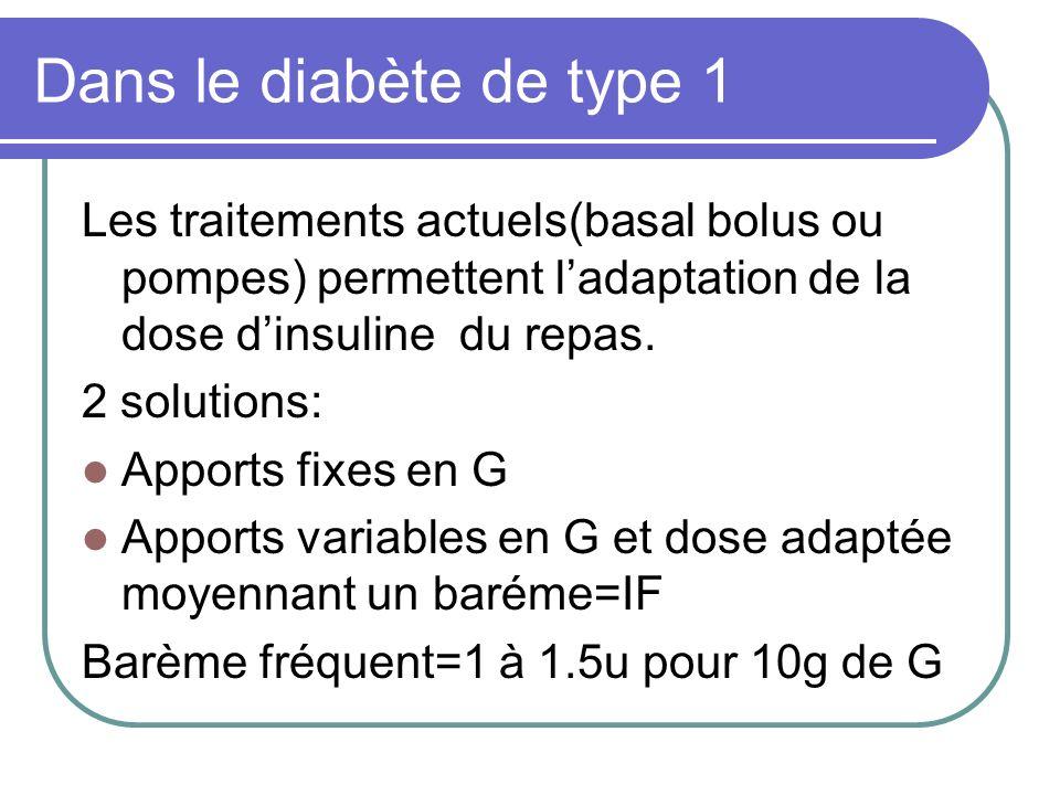 Dans le diabète de type 1 Les traitements actuels(basal bolus ou pompes) permettent l'adaptation de la dose d'insuline du repas.