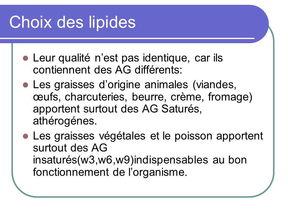 Choix des lipides Leur qualité n'est pas identique, car ils contiennent des AG différents: