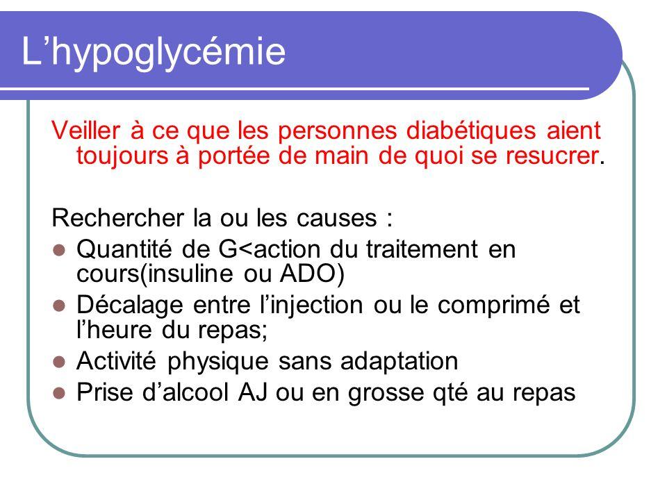 L'hypoglycémie Veiller à ce que les personnes diabétiques aient toujours à portée de main de quoi se resucrer.