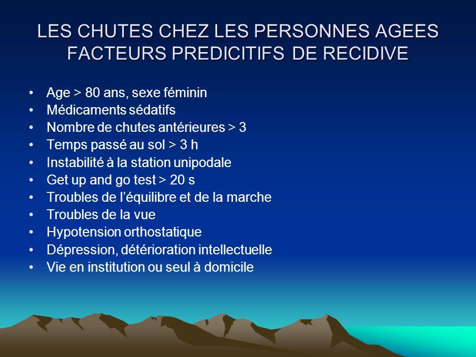 LES CHUTES CHEZ LES PERSONNES AGEES FACTEURS PREDICITIFS DE RECIDIVE