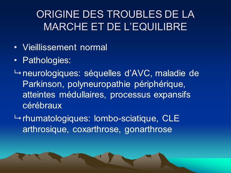 ORIGINE DES TROUBLES DE LA MARCHE ET DE L'EQUILIBRE