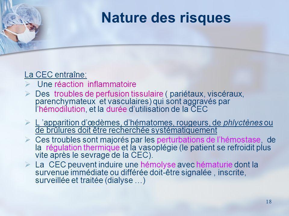 Nature des risques La CEC entraîne: Une réaction inflammatoire