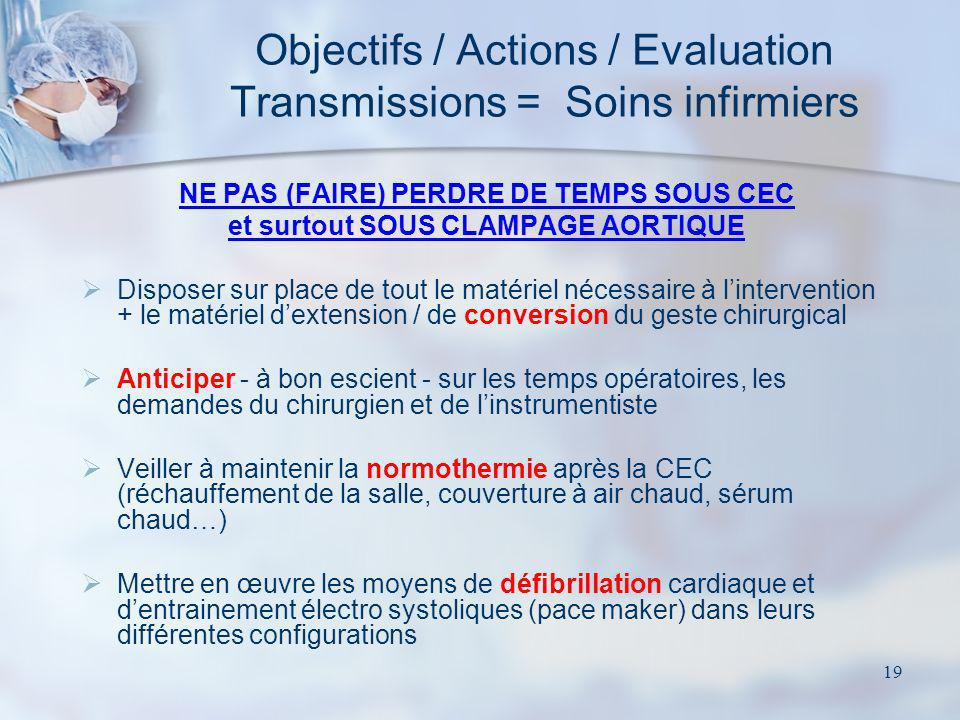 Objectifs / Actions / Evaluation Transmissions = Soins infirmiers