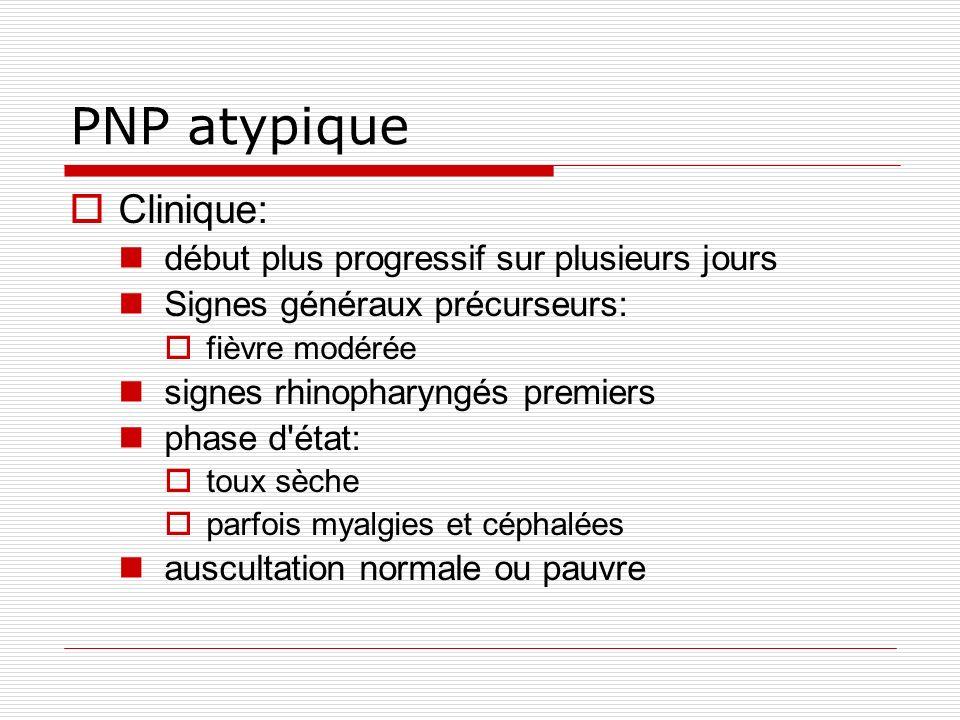 PNP atypique Clinique: début plus progressif sur plusieurs jours