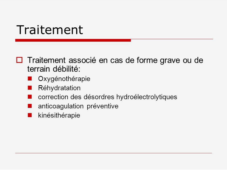 Traitement Traitement associé en cas de forme grave ou de terrain débilité: Oxygénothérapie. Réhydratation.