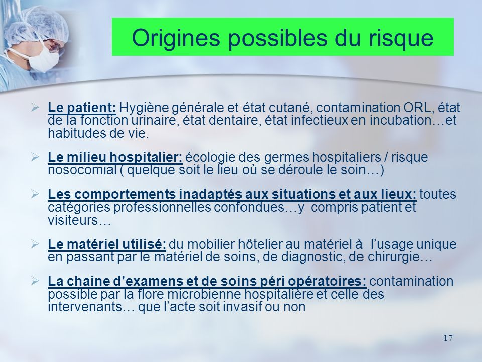 Origines possibles du risque