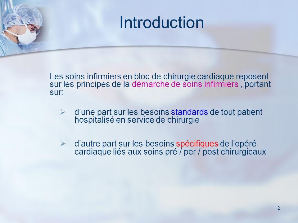 Introduction Les soins infirmiers en bloc de chirurgie cardiaque reposent sur les principes de la démarche de soins infirmiers , portant sur: