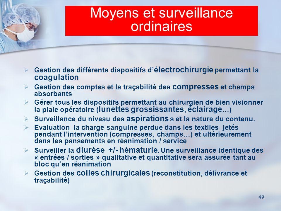 Moyens et surveillance ordinaires