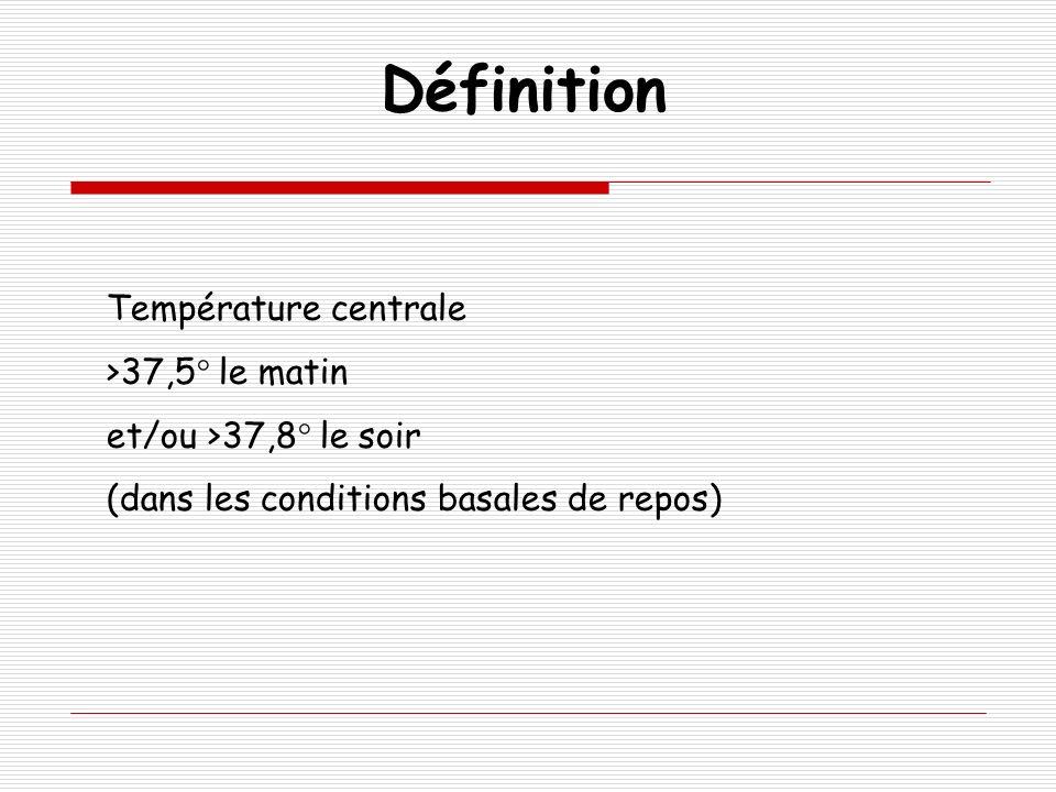 Définition Température centrale >37,5° le matin