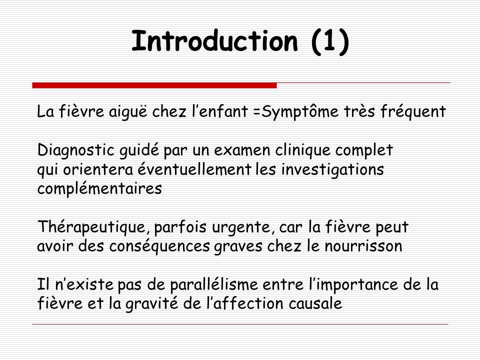 Introduction (1) La fièvre aiguë chez l'enfant =Symptôme très fréquent