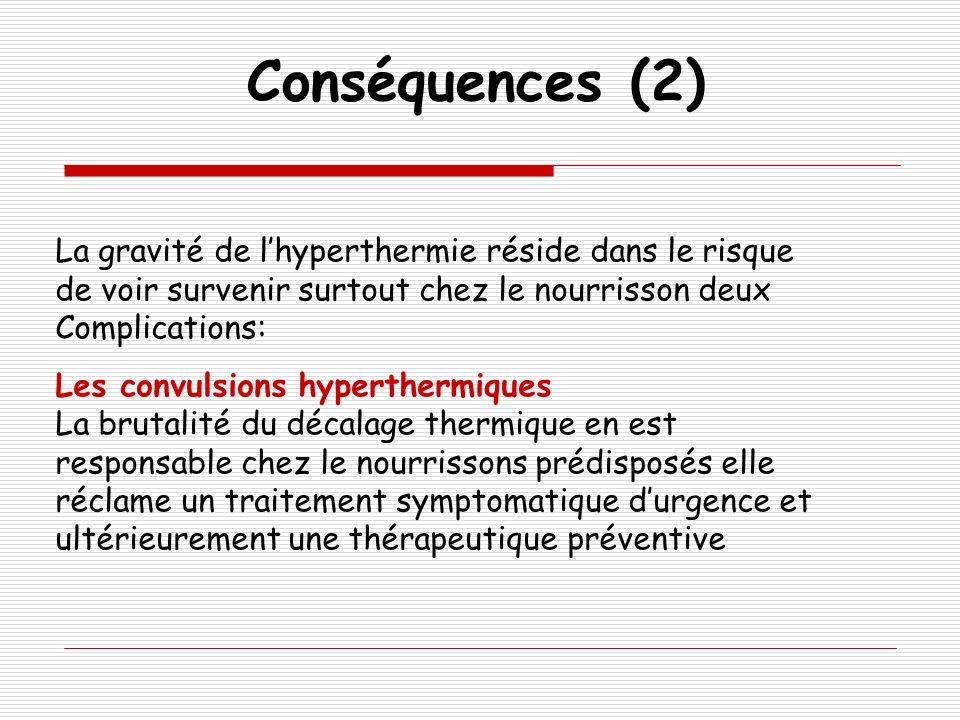 Conséquences (2) La gravité de l'hyperthermie réside dans le risque