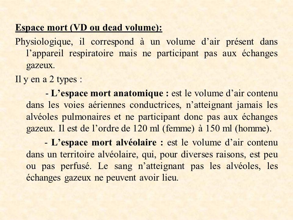 Espace mort (VD ou dead volume):