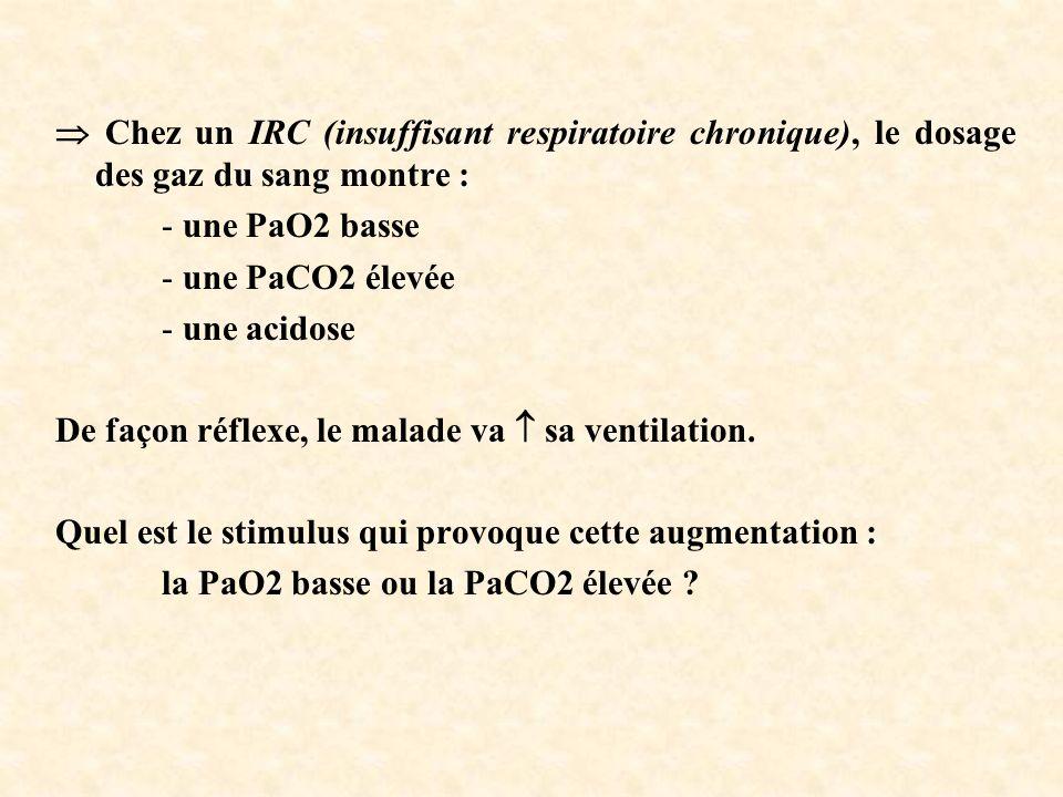  Chez un IRC (insuffisant respiratoire chronique), le dosage des gaz du sang montre :
