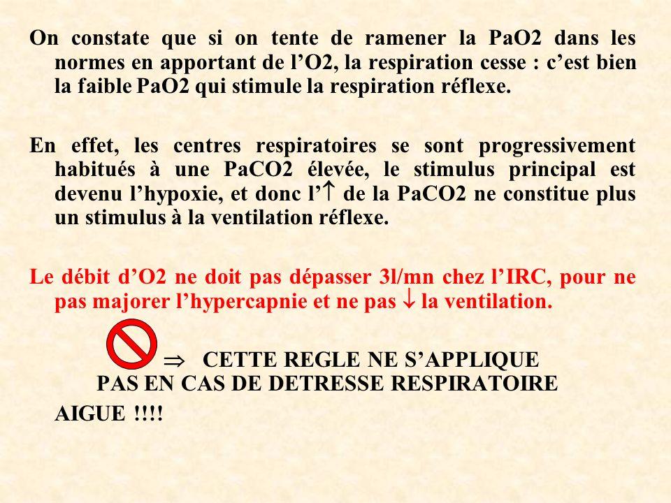 On constate que si on tente de ramener la PaO2 dans les normes en apportant de l'O2, la respiration cesse : c'est bien la faible PaO2 qui stimule la respiration réflexe.