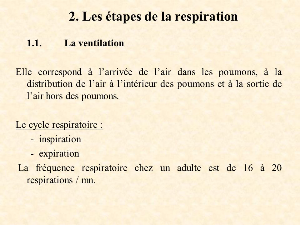 2. Les étapes de la respiration