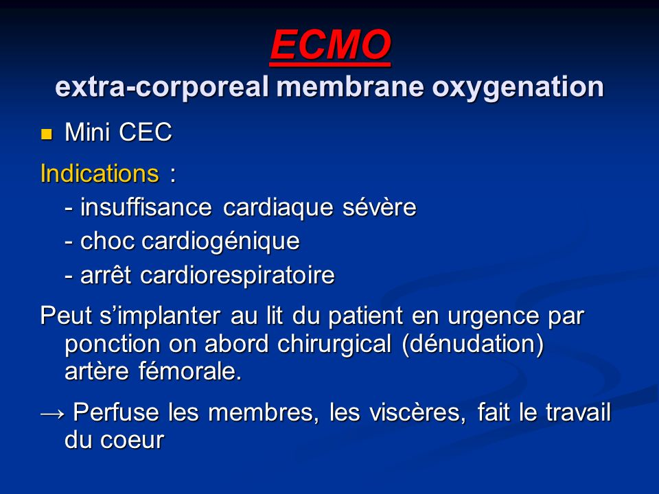 ECMO extra-corporeal membrane oxygenation