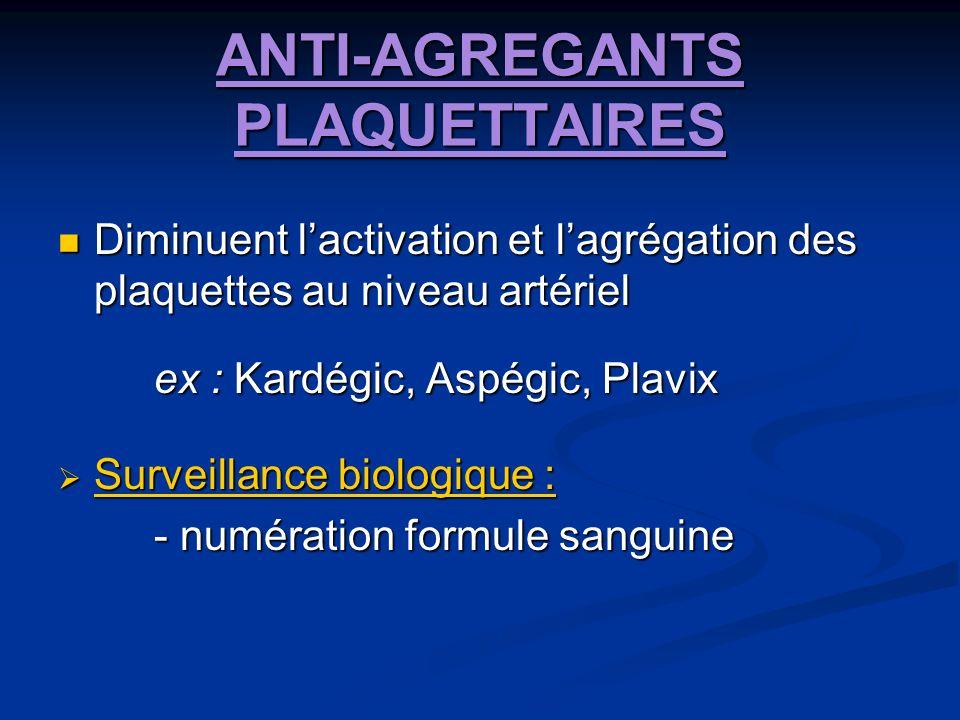 ANTI-AGREGANTS PLAQUETTAIRES